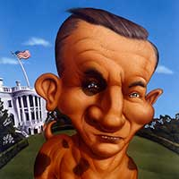 Ross Perot as a dog illustration